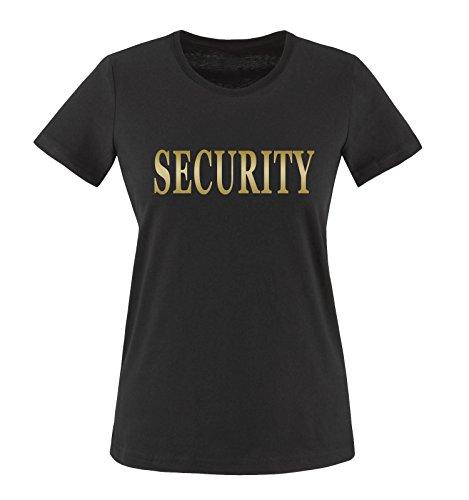 Comedy Shirts T-shirt de sécurité pour femme S noir/or