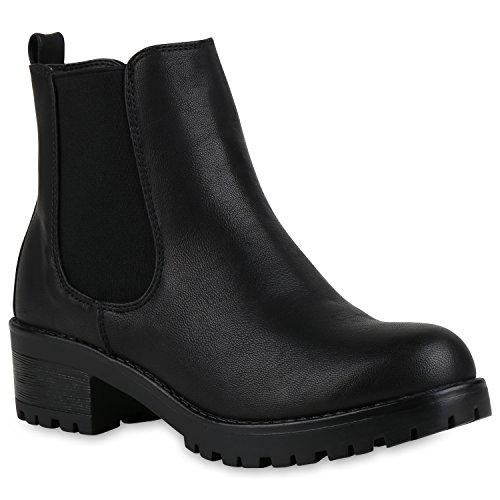 Leicht Gefütterte Damen Stiefeletten Plateau Schuhe Chelsea Boots 147238 Schwarz Black Arriate 40...