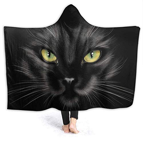July Kids Adults Hooded Blanket A Black Cat Print Super Soft Plush Throw Fleece Wearable Blanket with Hood Poncho 60x50 in
