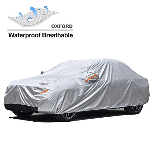 GUNHYI Oxford Car Covers Windproof Waterproof All Weather for Automobile, Snow Sun Rain UV Protective Outdoor, Fit Sedan (Length 192-205 Inch)