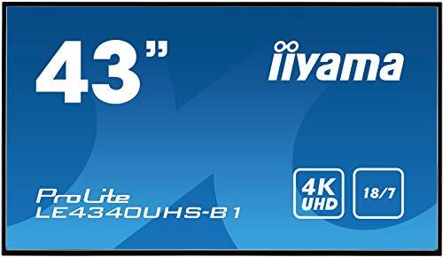 iiyama ProLite LE4340UHS-B1 108cm (43 Zoll) Digital Signage Display AMVA3 LED Panel 4K UHD Ultra Slim (VGA, DVI, HDMI x2, USB, RS232, RJ45 LAN, IR) schwarz