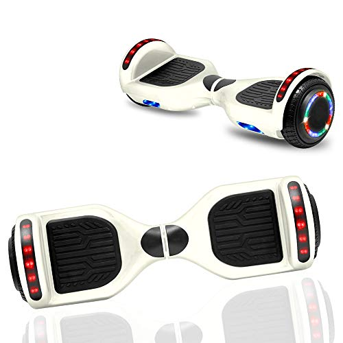 NHT Newest Edition Electric Hoverboard Self Balancing Scooter with Built-in Bluetooth Speaker LED Lights - Safety Certified - STD White