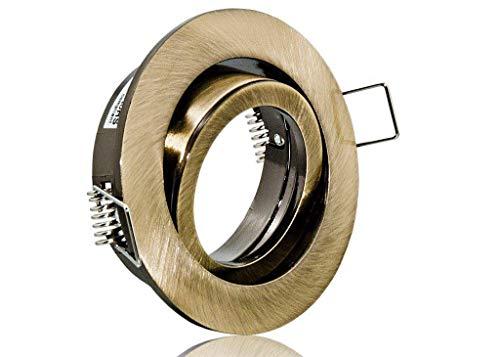 Feinlux® Einbaustrahler Deckenstrahler Einbauspot Einbauleuchte Einbaulampe altmessing Rund inkl. GU10 Fassung Ideal für LEDs