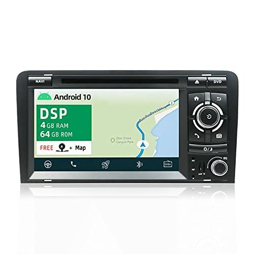 YUNTX PX6 Android 10 Autoradio Adatto per Audi A3 (2003-2011) -Incorporato DSP - 4GB+64GB - GPS 2 Din -Gratuiti [Telecamera&Canbus] -Supporto DAB/Bluetooth 5.0/Controllo del volante/WiFi/4G/HDMI/AHD