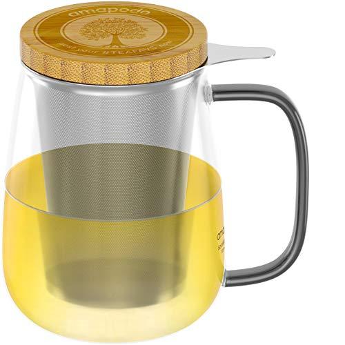 amapodo Vaso de té con colador y tapa Taza de té de 700 ml, vaso grande, juego de vasos XXL sin plástico con asa, vaso de vidrio como regalo para el té suelto
