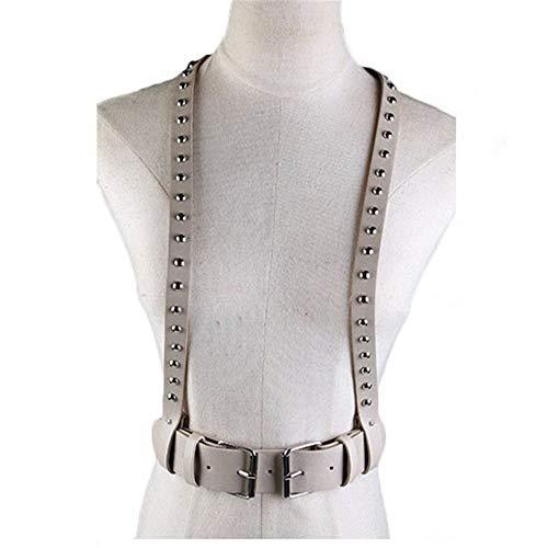 MxZas Riemchen Harness Crop Top Unisex Kunstleder Punk Adjustable Körper Chest Harness-Gurt Fancy Taille Schnalle Gürtel mit Metallbolzen Dekor Nachtclub Kostüme (Color : Khaki)