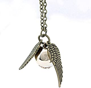Harry Potter Golden Snitch ST Wings Pendant Necklace (Antique Bronze plate)
