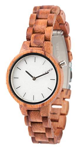 LAiMER Damen-Armbanduhr MARMO ROSE Mod. 0070 aus Rosenholz - Analoge Quarzuhr mit weißem Marmor-Zifferblatt aus Südtirol und Holzarmband