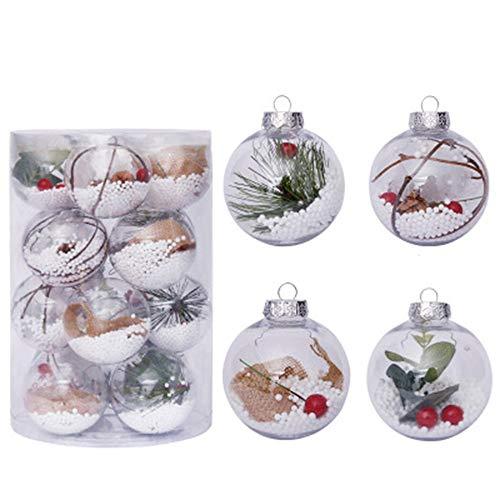PovKeever 20 piezas 8 cm inastillable bola de Navidad transparente Kit de decoración de bolas colgante árbol de Navidad decoración para el hogar vacaciones suministros Año Nuevo boda fiesta