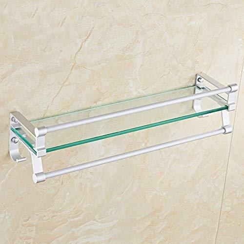ZHANGYY Badezimmerregale Raum Aluminium Badezimmer Goldener Glasaufbewahrungshalter Badezimmertoilette Einlagiges Spiegelregal Kosmetischer Aufbewahrungshandtuchhalter Duschraumregal (Farb