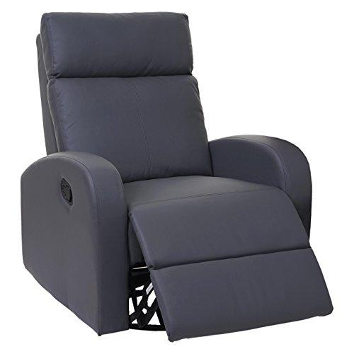 Mendler Fernsehsessel HWC-A54 Premium, Relaxsessel Schaukelstuhl Wippfunktion, drehbar Kunstleder - grau