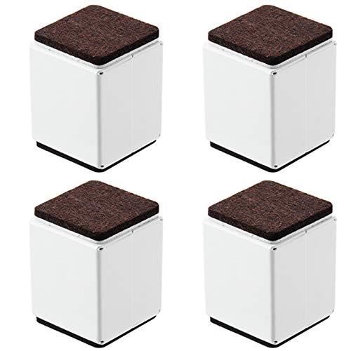 ZHXY 5.3 cm Betterhöhung 4 Stück massiver Stahl selbstklebend Möbelerhöhung oder Bettlift Höhe für Tisch,Stuhl,Schreibtisch oder Sofa,Quadrat Weiß.