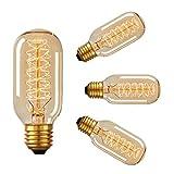 Edison Vintage ampoule à vis 40w - Pack de 4 ampoules T45 à filament décoratif dimmable, valve à spirale radio ES, blanc chaud et doux 2700K