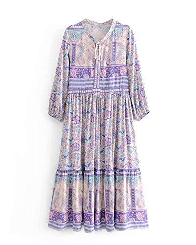 MINTLIMIT Damen Langarm Kleider Blumendruck Retro Baumwolle V-Ausschnitt Quaste Casual Bohemian Boho Vintage Midi-Kleid Lila#2780 S