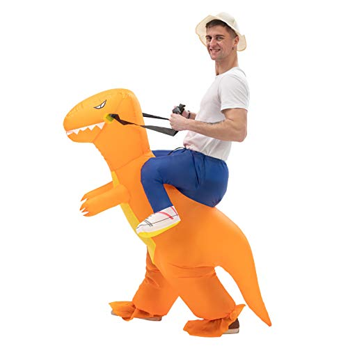 Inflatable Ride on Dinosaur Costume Air Blow up Suit Fancy Dress Party Halloween and Christmas Cosplay for Adults(orange)