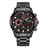 GDHJ reloj para hombre, Movimiento de Cuarzo Relojes de los Hombres Casual de Negocios de Vestir Relojes Multifuncional de la Aptitud de los Deportes Negro de Gran Dial
