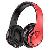 Cascos Inalambricos Cancelación del Ruido Auricular Deportivos Hi-Fi Sonido Estéreo Waterproof Auriculares Bluetooth Over-Ear Plegable Portátil para iOS/Android/Gimnasio/PC Headphones,Red+black