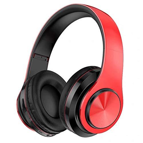 Wsaman Auriculares Over-Ear Plegable Portátil, Cascos Inalambricos Cancelación del Ruido Auricular Deportivos Hi-Fi Sonido Estéreo Waterproof para Celular/Running Dispositivi Bluetooth Earphones,Rojo