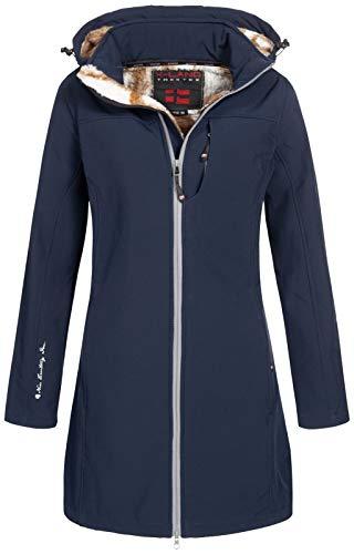 X-Land Damen Jacke Softshell Kurzmantel Nelson/Elze Stehkragen abnehmbare Kapuze Nachtblau M