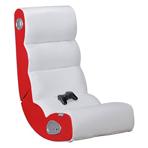 Wohnling® Soundchair Wobble in Weiß Rot mit Bluetooth | Musiksessel mit eingebauten Lautsprechern | Multimediasessel für Gamer | 2.1 Soundsystem - Subwoofer | Music Gaming Sessel Rocker Chair