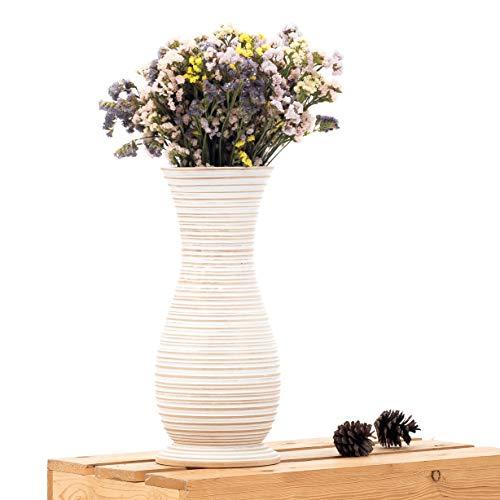 Leewadee Kleine Bodenvase für Dekozweige hohe Standvase Design Holzvase, 15x41 cm, Mangoholz, White wash