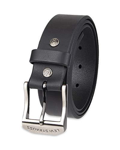 Levi's Men's 100% Leather Belt with Prong Buckle, Black, 54