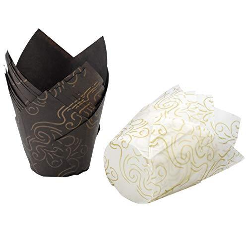 HQdeal Muffin Backförmchen, 100 Stück Tulpen-Backförmchen, Tulpe Cupcake Liner, Backbecher Papier Cupcake Förmchen für Cupcakes,Muffins für Hochzeiten und Geburtstag