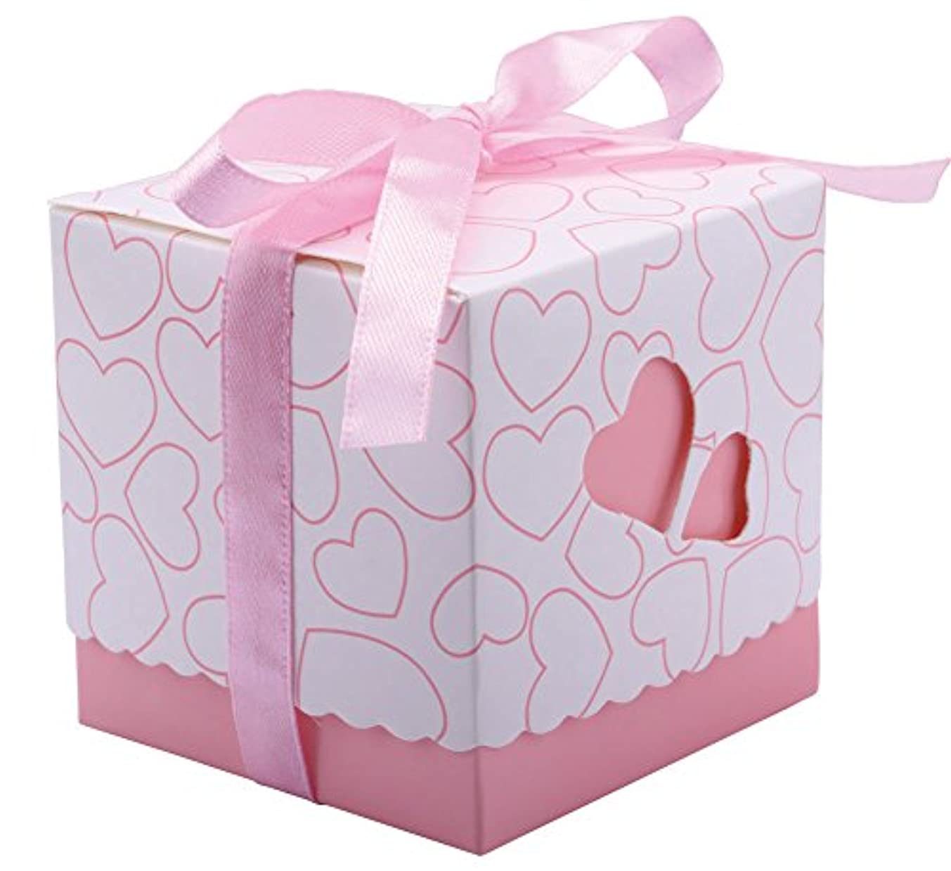 DriewWedding Set of 50 Wedding Bridal Favor Gift Candy Boxes Case, Hollow Heart Shape Wrap Boxs Bag with Ribbon Party Table Decor Kit Treat Box Chocolate Candy Wrappers Holders (Pink/ 3