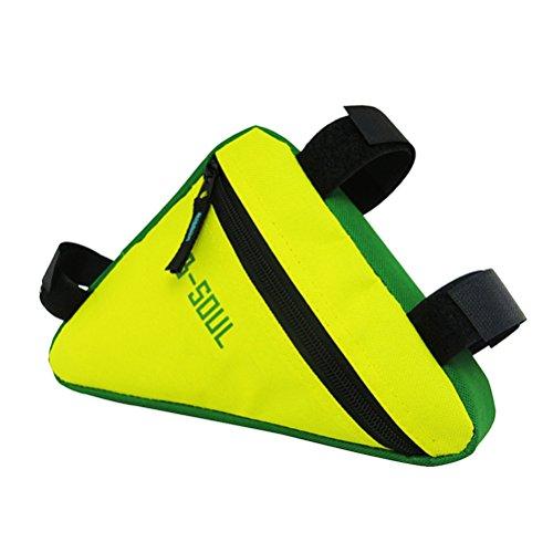 WINOMO Triángulo a prueba de agua bolsas de marco de bicicleta tubo delantero bolsa de ciclismo MTB bicicleta de carretera accesorios bicicleta (amarillo y verde)