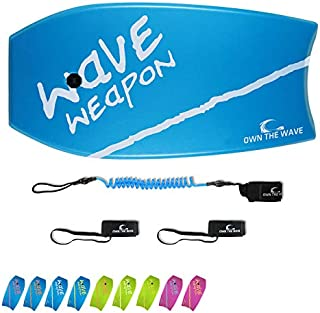 Own the Wave 'Wave Weapon' Bodyboard with Premium Leash and Fin Tethers,..