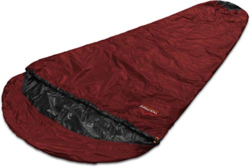 normani Schlafsacküberzug Biwaksack - 100% Wind- und wasserdicht, Atmungsaktivität: 3000 MVP (230 cm x 90 cm) Farbe Rot Größe 230 x 90 x 60 cm - RV Links