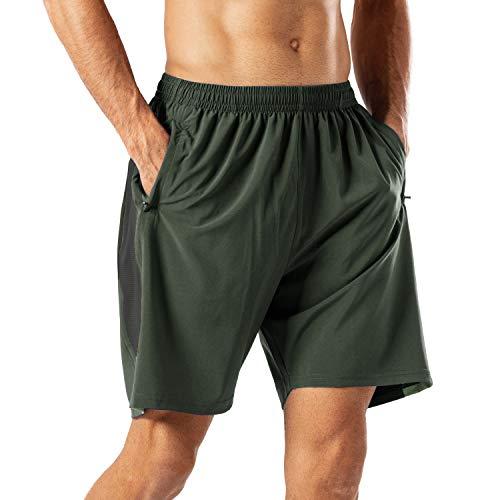 Herren Sport Shorts Schnell Trocknend Kurze Hose mit Reißverschlusstasch(Armeegrün,L)