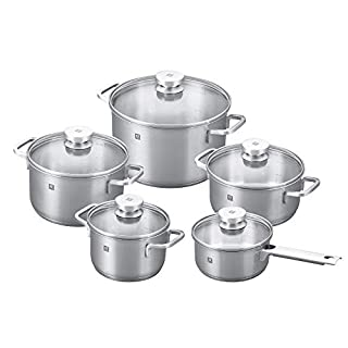 ZWILLING Focus 10 Piece Stainless Steel Cookware Set I Industion Compatible I 18/10 Stainless Steel Interior for Pure Tasting Food I Glass Lids and Folded Rims, Regular, Silver (66670-001) (B082YF5R1K) | Amazon price tracker / tracking, Amazon price history charts, Amazon price watches, Amazon price drop alerts