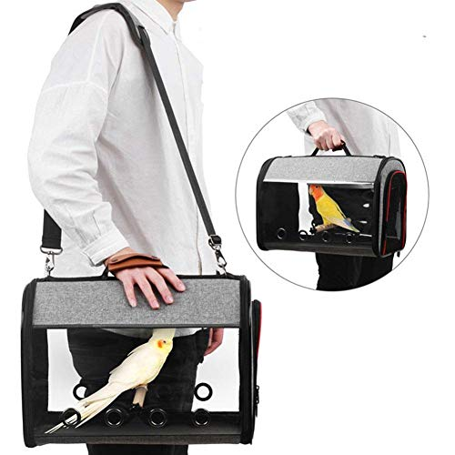Draulic Parrot Backpack Breathable Bird Transport Cage Travel Cage Carrier with Panoramic Design Double Open Zip Design Ventilated Hole Construction Bird Carrier