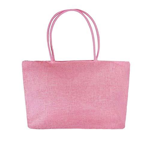 Mdsfe El Nuevo y Sencillo Bolso de Playa de Paja Grande de Color Caramelo para Mujer, Bolso de Hombro Informal, Compras Todo el día-L, a1