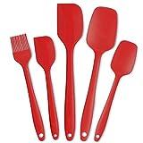 IdealHouse Set de espátulas de Silicona Utensilios de Cocina espátula Resistente al Calor (5 Juegos Rojo)