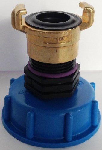 CMTech GmbH Montagetechnik CM135100 Kappenverschraubung S60x6 mit GEKA Messing-Festkupplung, IBC-Container-Zubehör-Regenwasser-Tank-Adapter-Fitting-Kanister