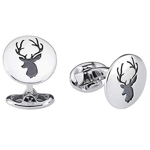 Vinani Design Manschettenknöpfe Hirsch Symbol rund geschwärzt glänzend 925 Sterling Silber Herren Anzug Hemd 2MAH