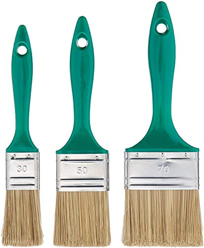 Color Expert 82650315 - Lotto di 3 pennelli piatti con manico in plastica, 30/50/70 mm