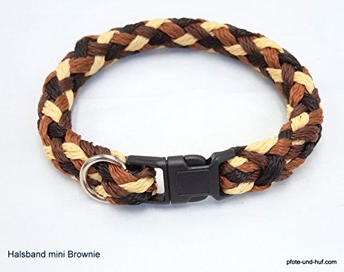 elropet Hundehalsband Mini für die Kleinen rundgeflochten Tauwerk Brownie (32cm)