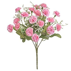 Silk Flower Arrangements Artificial and Dried Flower 1 Pcs 5 Fork 20 Heads Artificial Silk Flowers Lilac for Wedding Party Garden Decorations DIY Craft Gift Fake Flower Home Decor - ( Color: Pink)
