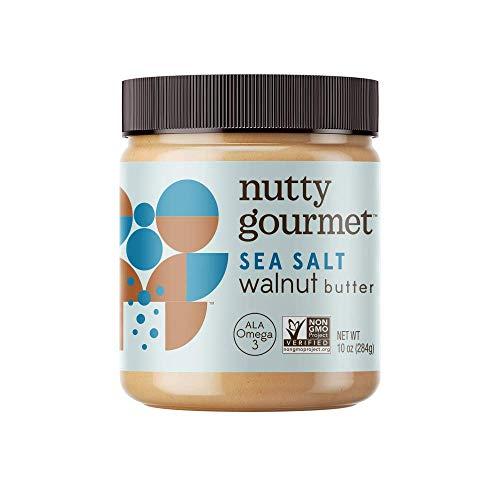 The Nutty Gourmet Sea Salt Walnut Butter - Keto Snacks - Vegan Omega 3 Rich - Gluten Free Nut Butter - Vegan Butter - Keto Nut Butter - Spreadable Butter - Salted Butter - Natural Nut Butter - 10 Oz