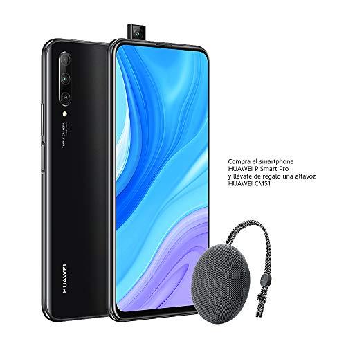 "Huawei P Smart Pro Smartphone con Pantalla Ultra FullView FHD+ de 6.59"" (6GB de RAM + 128GB de ROM, Triple Cámara IA de 48MP, 4000 mAh, Android 9) Color Negro + Altavoz CM51 Gris"