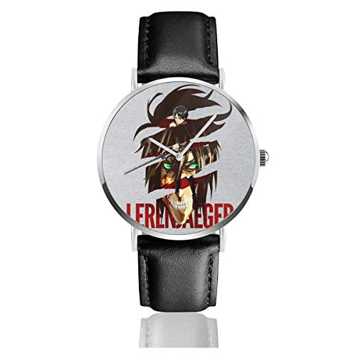 Unisex Business Casual Eren Jaeger Titan Fusion Relojes Reloj de Cuero de Cuarzo