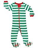elowel | Pijama Unisexo | 1 Pieza | Ropa De Noche De Pie | Cálido Y Tierno | 100% Algodon | Ajuste Apretado | Tamaño: 18-24 Meses | Colro: Rayas Verde-Blancas