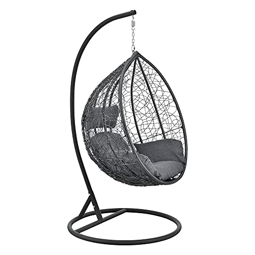[en.casa] Hängesessel Capileira 1-Sitzer Outdoor Hängestuhl mit Gestell und Kissen Hängekorb bis 150 kg Dunkelgrau
