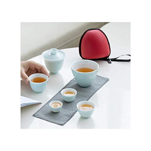 FYRMMD Práctico Juego de té de Kung Fu, 1 Olla 4 Tazas Juego de Tazas de hervidor rápido, Juego de té Familiar de Viaje de Oficina Artículos para el hogar de té de Kung Fu