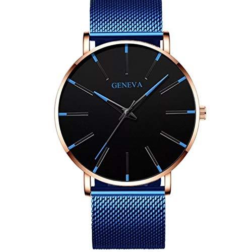 GENEVA Reloj Analógico con Correa de Acero Inoxidable en Color Azul Unisex