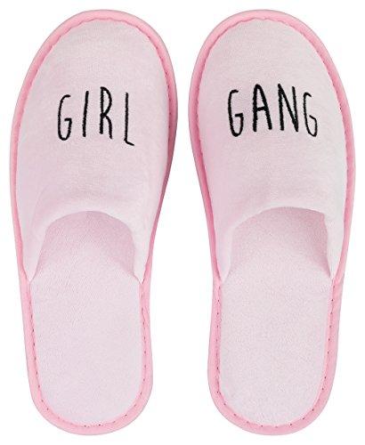 likalla Wellness-Slipper geschlossen mit schwarzer Girl Gang Bestickung in rosa, 1 Paar