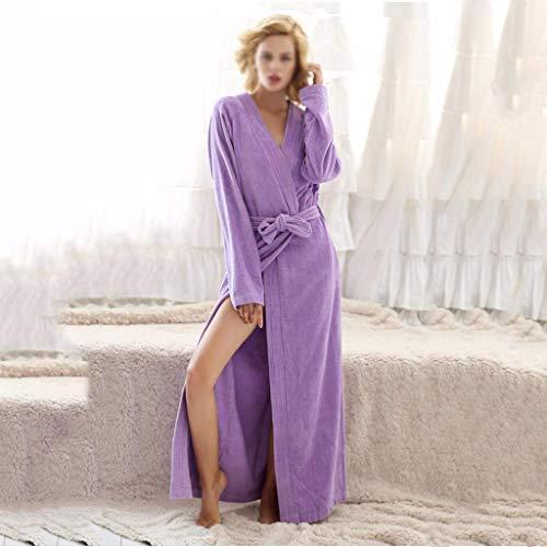 SYue Toalla de Felpa de algodón Puro para Mujeres y Hombres Kimono Albornoz Largo Batas de SPA Ropa de salón de Longitud Completa Ropa de Noche Vestido de Pijama